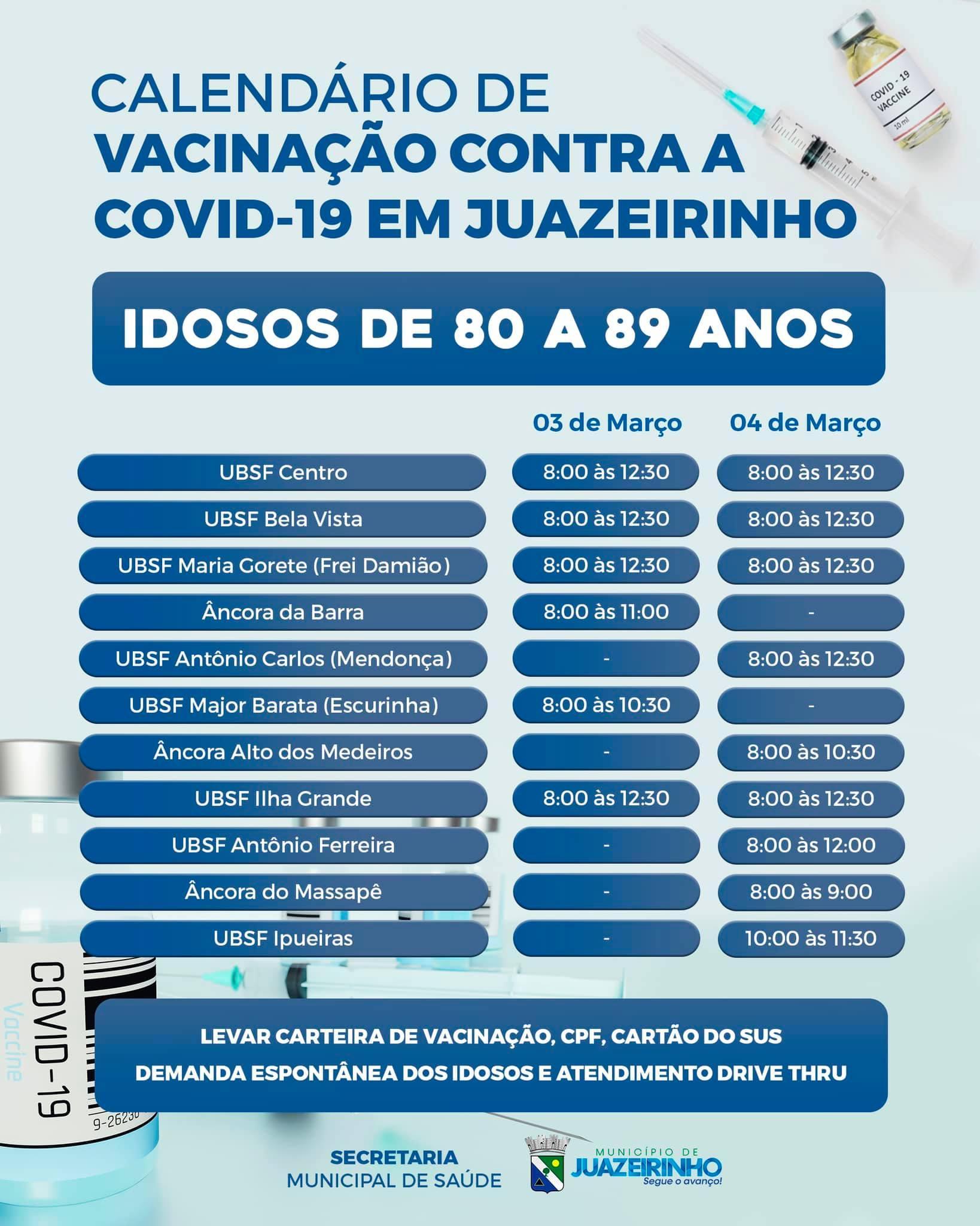 Calendário de Vacinação contra a COVID-19