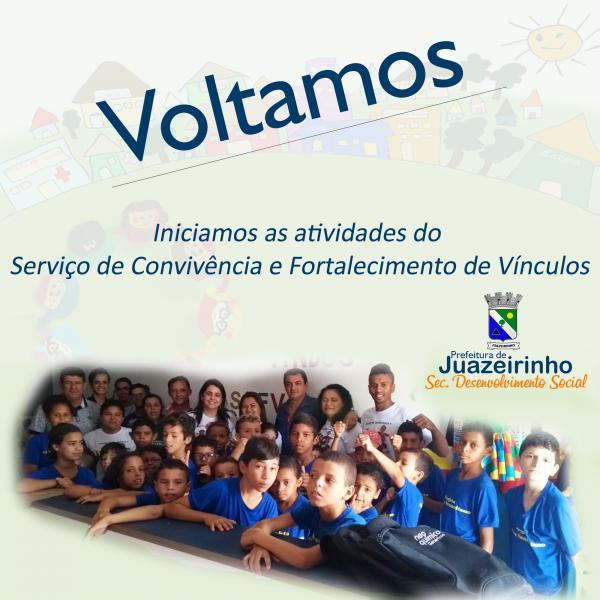 SERVIÇO DE CONVIVÊNCIA E FORTALECIMENTO DE VÍNCULOS DE JUAZEIRINHO RETOMA SUAS ATIVIDADES.