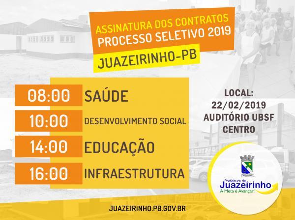 ASSINATURA DOS CONTRATOS DO PROCESSO SELETIVO Nº 001/2019